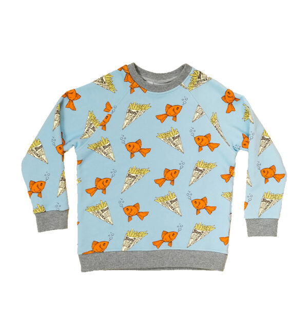 Boy wonder fish sweatshirt front cutout