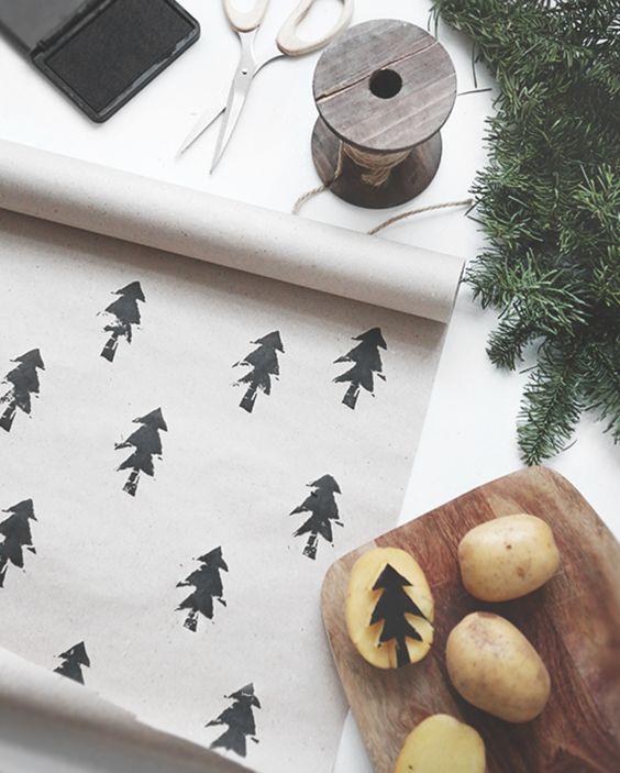 Potato printed giftwrap