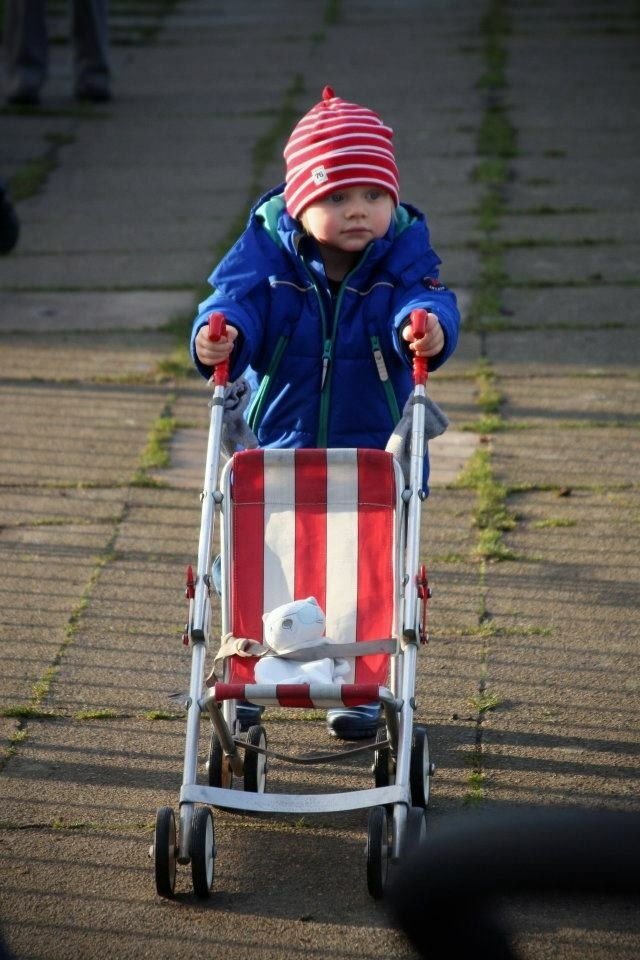 Little boy with toy pushchair